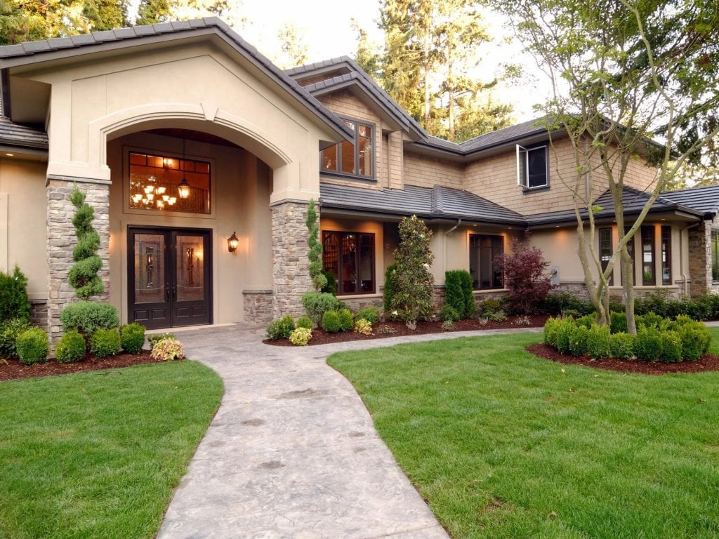 House exterior and lawn